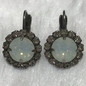 SORRELLI white clear circle earrings opal dangle